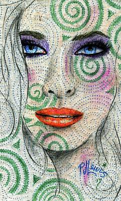 Poster featuring the drawing Swirl Girl by P J Lewis