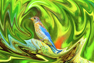 Swirling Bluebird Abstract Poster