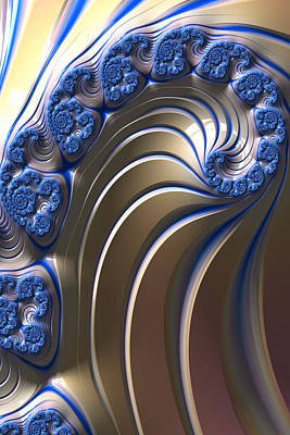 Poster featuring the digital art Swirly Blue Fractal Art by Bonnie Bruno