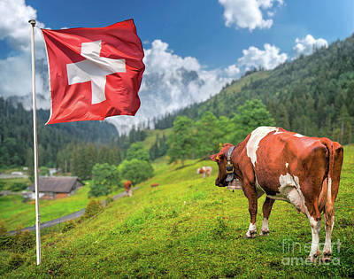 Swiss Mountain Scenery Poster by JR Photography
