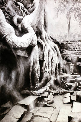 Poster featuring the painting Sycamore Tree Overgrowing Ruins- Cambodia by Ryan Fox