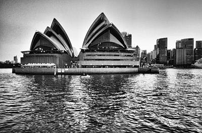 Sydney Opera House-black And White Poster by Douglas Barnard
