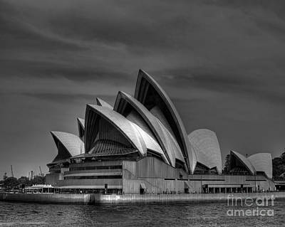 Sydney Opera House Print Image In Black And White Poster by Chris Smith