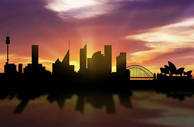 Sydney Skyline Sunset Ausy22 Poster