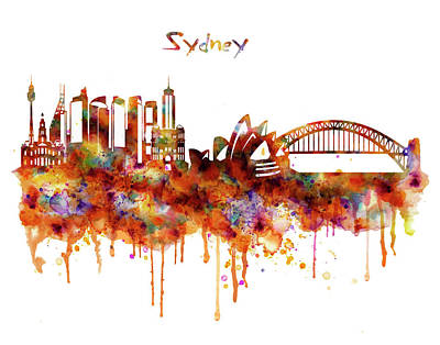 Sydney Watercolor Skyline Poster by Marian Voicu