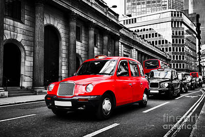 Symbol Of London, The Uk. Taxi Cab Known As Hackney Carriage Poster by Michal Bednarek