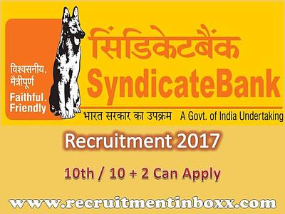 Syndicate Bank Recruitment 2017 Poster by Recruitment Inboxx