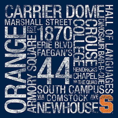 Syracuse College Colors Subway Art Poster