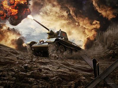 T-34 Soviet Medium Tank Wwii Poster by Anton Egorov