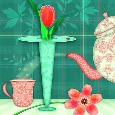 T Is For Two Tulips With Tea Poster by Valerie Drake Lesiak