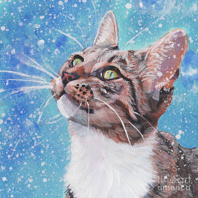 Poster featuring the painting Tabby Cat In The Winter by Lee Ann Shepard