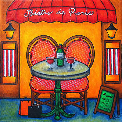 Table For Two In Paris Poster by Lisa  Lorenz