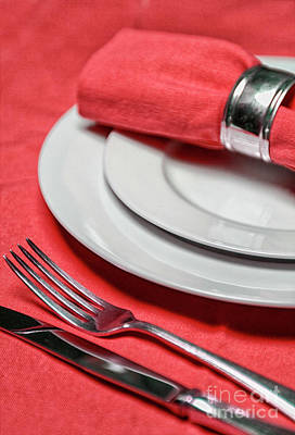 Table Setting In Red Poster