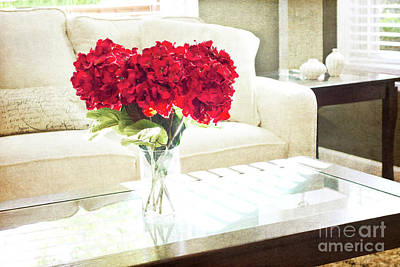 Table With Red Flowers Poster