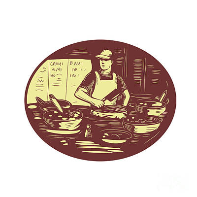Taco Cook In Food Stall Oval Retro Poster