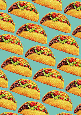 Taco Pattern Poster by Kelly Gilleran