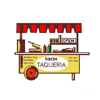 Taco Stand Taqueria Stand Woodcut Poster by Aloysius Patrimonio