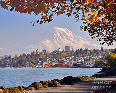 Tacoma N Mt Rainier Poster by Jack Moskovita