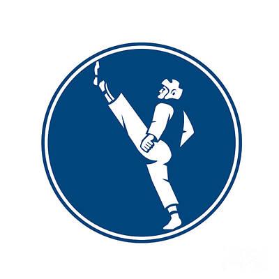 Taekwondo Fighter Kicking Stance Circle Icon Poster