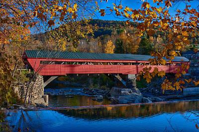 Taftsville Covered Bridge In Autumn Colors Poster