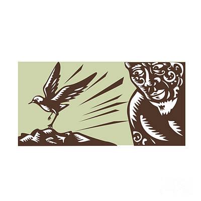 Tagaloa Looking At Plover Bird Woodcut Poster by Aloysius Patrimonio