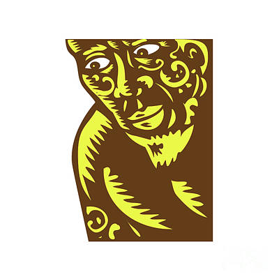 Tagaloa Peeking Woodcut Poster by Aloysius Patrimonio