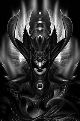 Taidushan Sai The Talons Of Time Blacksun Fractal Portrait Poster by Xzendor7
