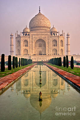 Taj Mahal At Sunrise Poster by Luciano Mortula