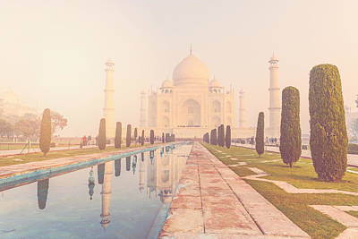 Taj Mahal In Agra India With Instagram Style Filter Poster by Brandon Bourdages