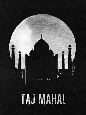 Taj Mahal Landmark Black Poster by Naxart Studio