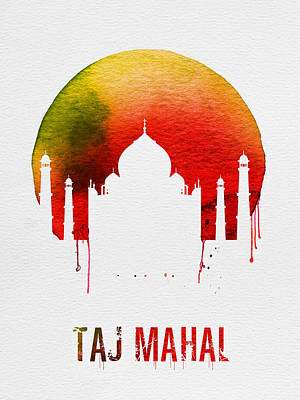 Taj Mahal Landmark Red Poster by Naxart Studio