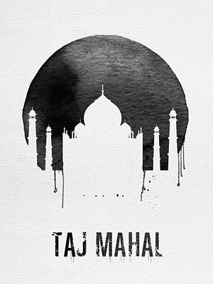 Taj Mahal Landmark White Poster by Naxart Studio