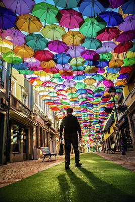 Take A Walk Under The Umbrella Sky Poster