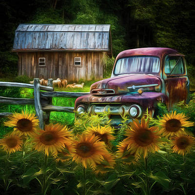 Take Us For A Ride In The Sunflower Patch Watercolors Painting Poster
