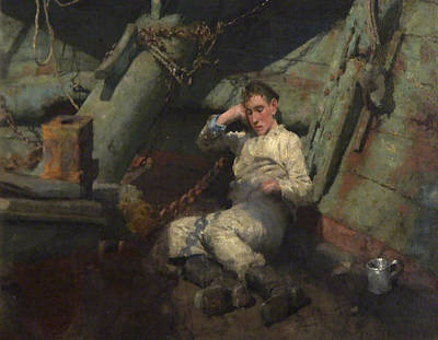 Poster featuring the painting Taking A Spell  by Henry Scott Tuke