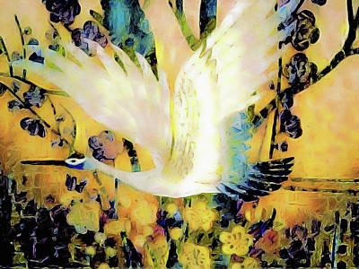 Taking Wing Above The Garden - Kimono Series Poster