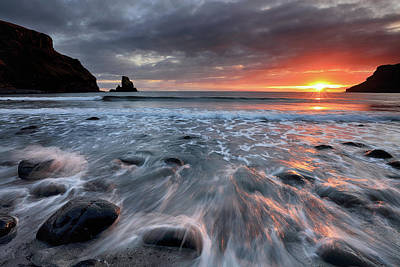 Poster featuring the photograph Talisker Bay Rocky Sunset by Grant Glendinning