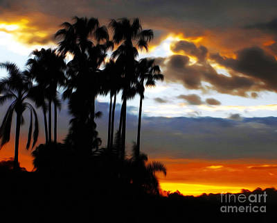 Tall Palms Sunset Silhouette By Kaye Menner Poster