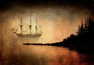 Tall Ship In The Fog Poster