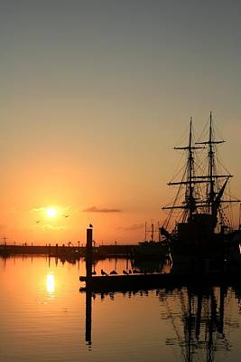 Tall Ship Lady Washington At Dawn Poster by Mike Coverdale