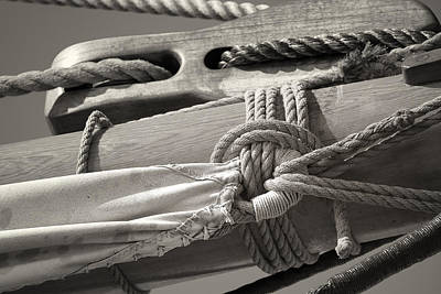 Tall Ship Sail Cloth Sepia Poster