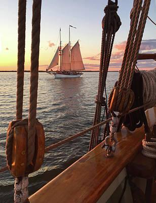Tall Ship Sunset Sail Poster