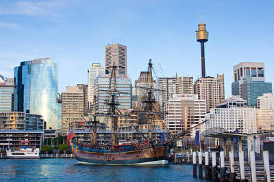 Tall Ships - Sydney Harbor Poster by Charles Warren