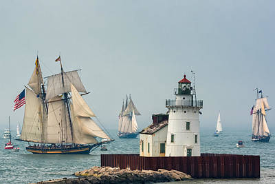 Tall Ships At Cleveland Lighthouse Poster