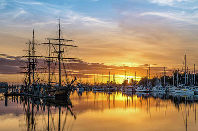 Tall Ships Sunset 1 Poster by Greg Nyquist