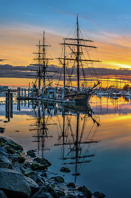 Tall Ships Sunset 2 Poster by Greg Nyquist