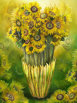 Poster featuring the mixed media Tall Sunflowers In Sunflower Vase by Carol Cavalaris