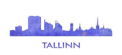 Tallinn City Purple Skyline Poster