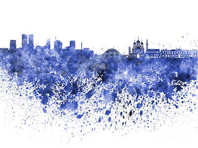 Tallinn Skyline In Blue Watercolor On White Background Poster by Pablo Romero