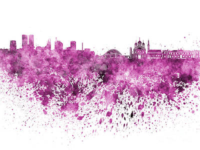 Tallinn Skyline In Pink Watercolor On White Background Poster by Pablo Romero
